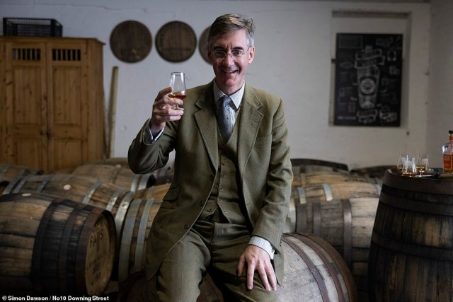 Asked if the stunt suggested he was aspiring to Number 10, the MP, who also visited a whisky distillery, said: 'God, no. I want the PM to carry on being PM'