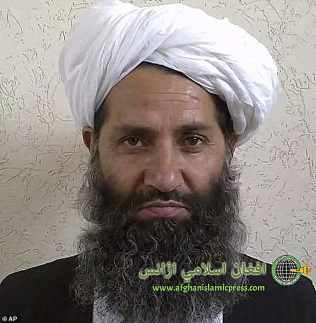 The Taliban fighters started shouting praise for the Taliban's supreme leader Hibatullah Akhundzada (pictured)