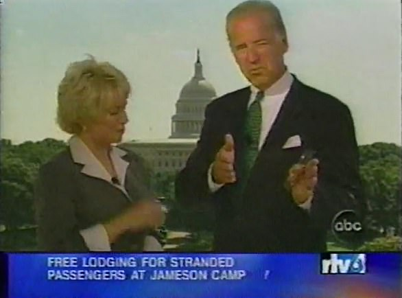 Biden (right) ran into ABC News reporter Linda Douglass (left) outside the Capitol Building and agreed to go on TV