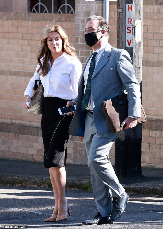 Two months ago Mr O'Keefe was charged with slapping, kicking and spitting on his doctor girlfriend in a row over an ice pipe she claimed he was carrying at a party (pictured with his lawyer leaving Waverley court in June)