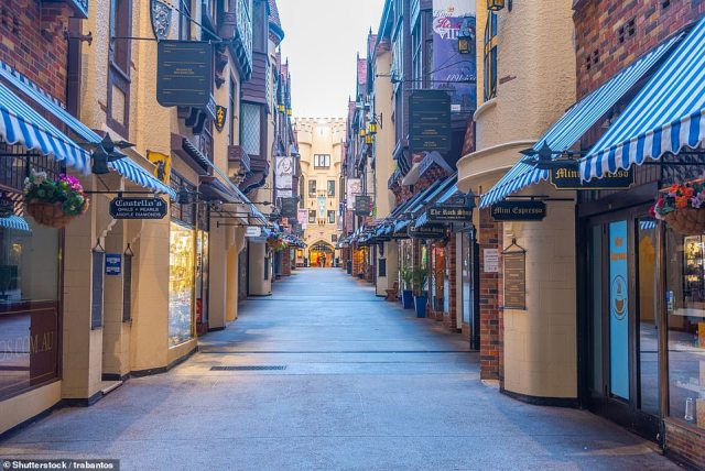 The Daily Mail's Fiona McIntosh recommends booking a walking tour around Perth's city centre. Pictured is the London Court shopping arcade, one of the city's popular tourist attractions