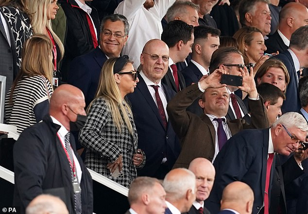 Avram Glazer (middle) was pictured at Old Trafford for the first time in more than two years