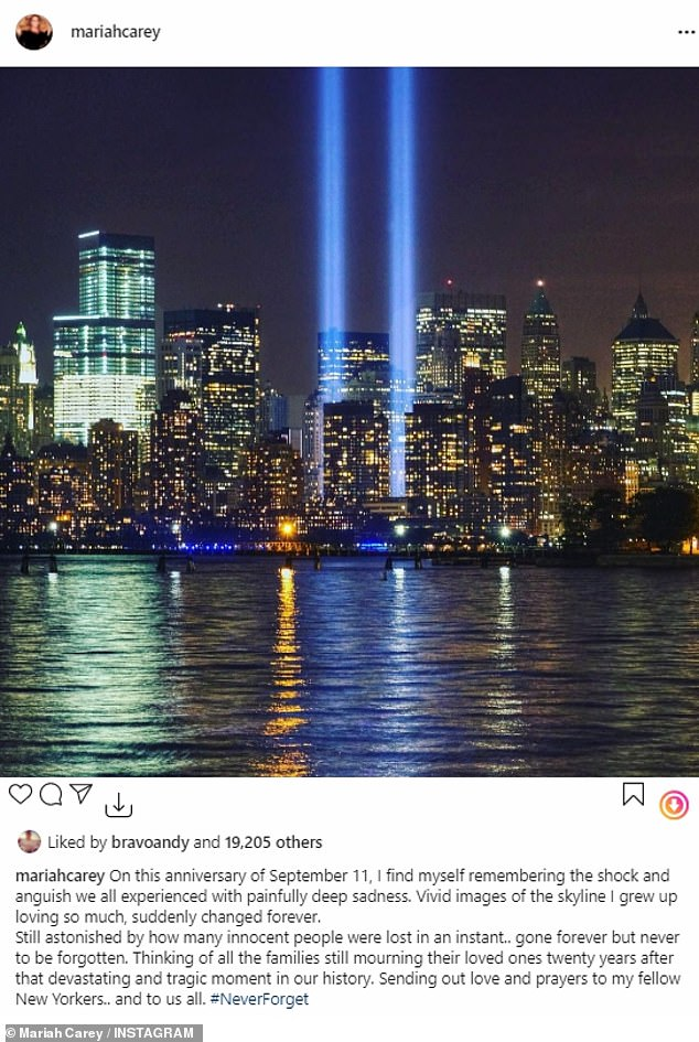 'On this anniversary of September 11, I find myself remembering the shock and anguish we all experienced with painfully deep sadness. Vivid images of the skyline I grew up loving so much, suddenly changed forever,' Mariah Carey wrote across an image of the Tribute in Light where the World Trade center used to stand