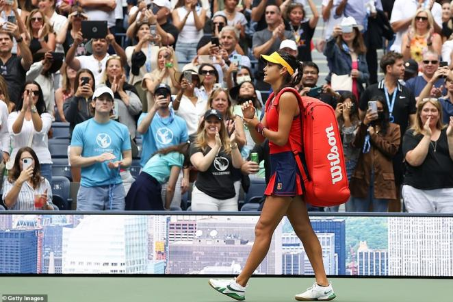 The American fans go wild for Raducanu as she walks out onto the court at Arthur Ashe Stadium