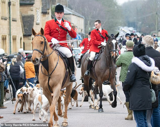 The full-page display protests against trail hunting, in which hounds and riders follow an animal scent laid down in advance