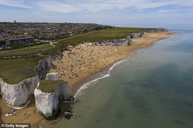 The woman was reported missing just after 3am on Saturday morning and search teams covered areas near Margate harbour and Nayland Rock as well as further east to allow for tidal drift. Pictured: Botany Bay in Margate