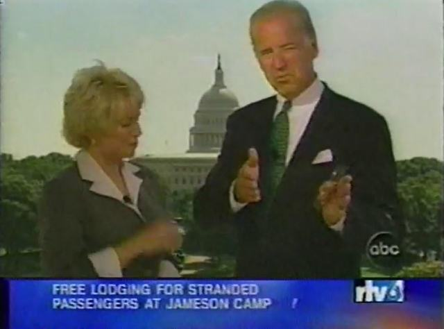 Biden (right) ran into ABC News reporterLinda Douglass (left) outside the Capitol Building and agreed to go on TV