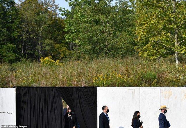 Vice President Kamala Harris (left) arrives at the Flight 93 National Memorial in Shanksville, Pennsylvania with her husband Doug Emhoff (center left) and Interior Secretary Deb Haaland (center right)