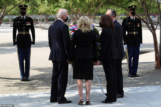 The first and second couples held hands and gathered around a wreath outside the Pentagon to mark the 20th anniversary of the 9/11 terror attacks
