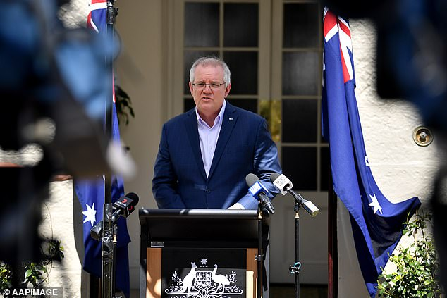 Mr Morrison (pictured on Sunday) announced 400,000 extra vaccines would go to Victoria