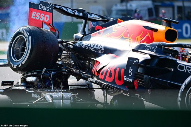 Lewis Hamilton was saved from serious injury by the protective Halo device on his Mercedes after the Red Bull of Max Verstappen flew off a banked curve and up over his car during the Italian Grand Prix at Monza