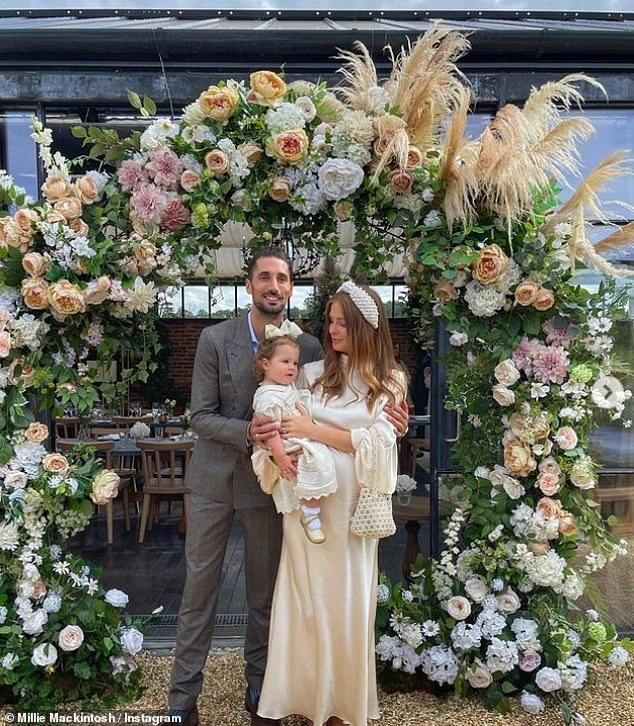 Special day:It comes after Millie and Hugo christened their one-year-old daughter Sienna on Saturday and celebrated with a beautiful Cotswolds event