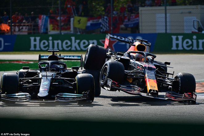 Wheel-to-wheel, the two drivers refused to give an inch with Verstappen forced wide to mount a 'sausage ramp' on the curve