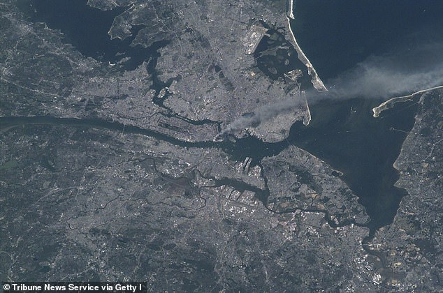 Culbertson and his crew took this footage of the smoke traveling over southern Manhattan and onto Long Island