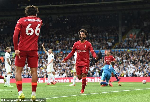 Mohamed Salah has now scored 100 Premier League goals after firing against Leeds United