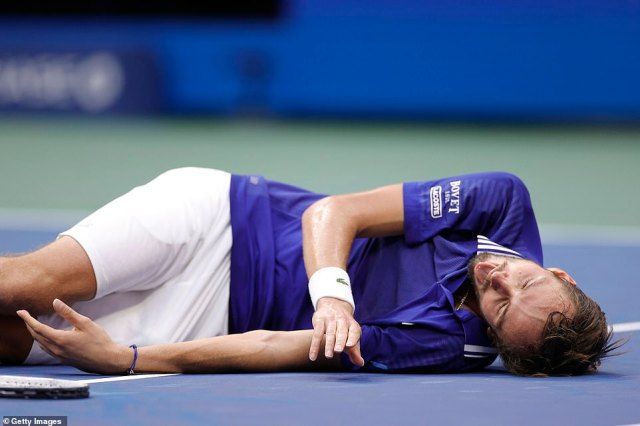 Medvedev collapsed to the floor when he took the championship point, in a reference to computer game series FIFA
