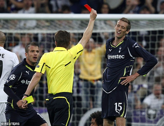 Crouch was sent-off against Real Madrid back in 2011 while playing for Tottenham