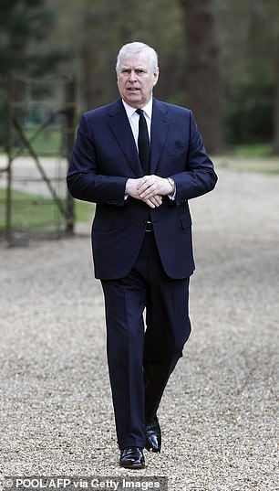 Prince Andrew (pictured in April) has denied the allegations and has not been charged with any criminal offence