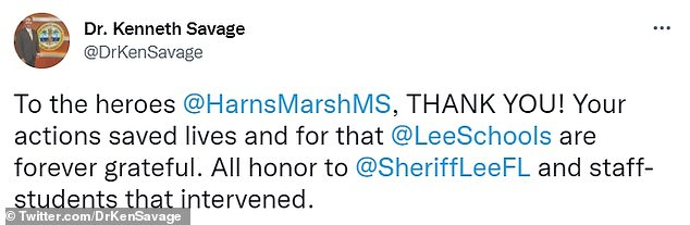 Following the boys¿ arrest, Lee County Superintendent Kenneth Savage tweeted his thanks to the police who foiled the alleged mass shooting plot
