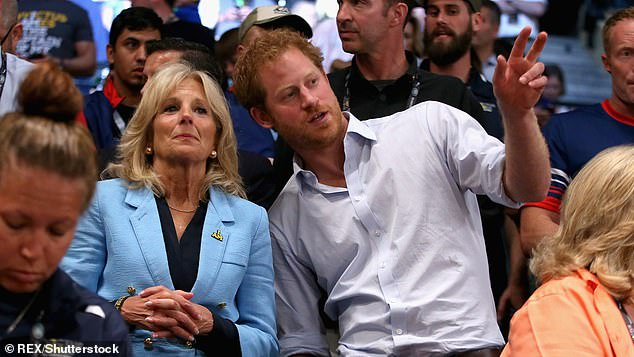 Jill Biden with Prince Harry at the Invictus Games in Orlando in May 2016