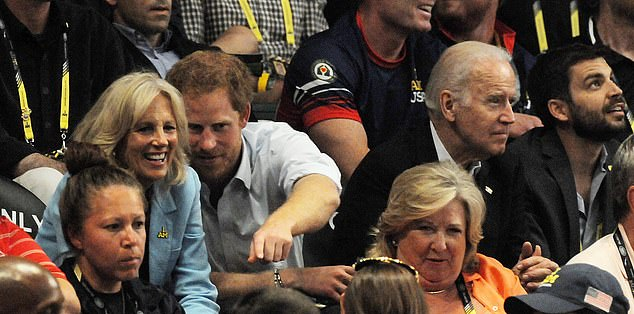 Jill Biden and Prince Harry paired up Monday to celebrate the Warrior Games - above the two at the Invictus Games in Orlando in May 2016