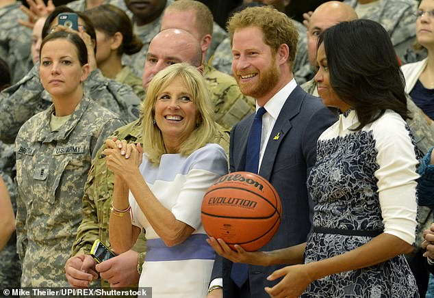 Jill Biden, Prince Harry and Michelle Obama at an event for wounded service members in Ft. Belvoir, Va., in October 2015