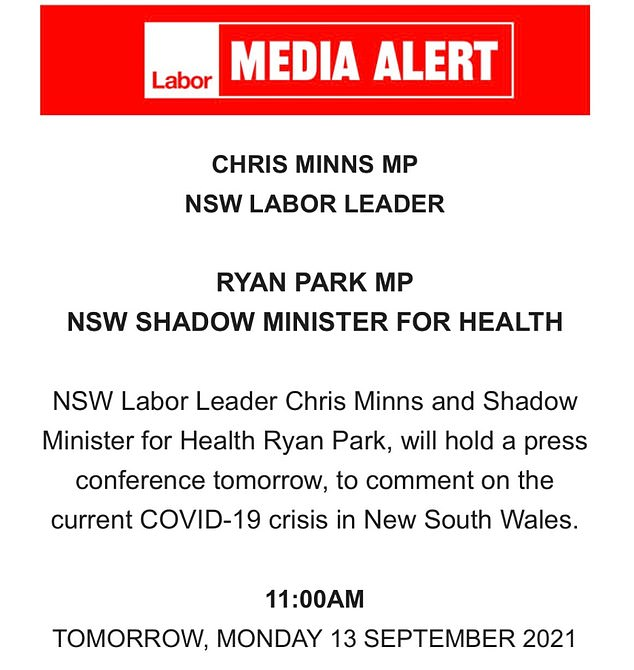 Mr Minns capitalised on the 11am space left by Gladys Berejiklian and announced his own press conference