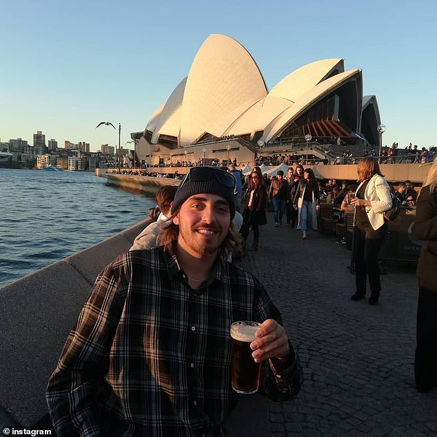 Mr Vieira had been living in the Gold Coast after moving to Australia in 2017. He is pictured during a trip to Sydney