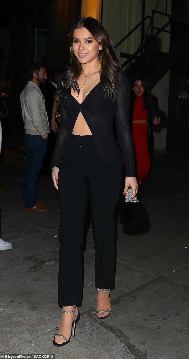 Daring: Hailee Steinfeld, 24, slipped into a revealing ensemble when she headed out for dinner in New York City over the weekend