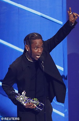 The latest: Travis Scott, 30, mentioned his daughter Stormi, three, as he accepted his Best-Hip Hop award at Sunday's MTV Video Music Awards, but did not say anything about Stormi's mother Kylie Jenner