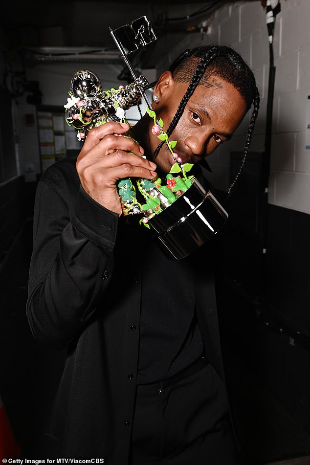 The rapper showed off his award backstage at theBarclays Center