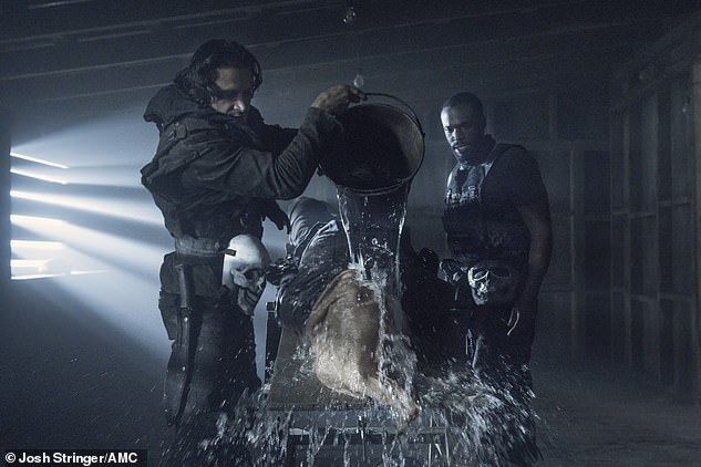 Torture session:Leah then suffocated Daryl who was next shown being tortured by waterboarding to cough up information