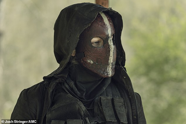 Mask on: Leah was unrecognizable to Daryl with her Reapers mask on