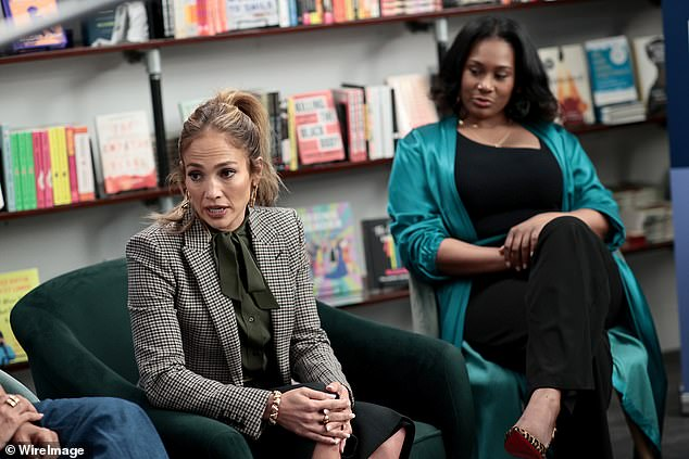 Chatting up a storm: Jennifer added her two cents at the event that focused on women