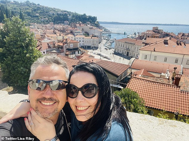 Loved-up: Emmerdale star Lisa Riley, 45, couldn't look happier in loved-up holiday snaps from her European travels with rarely-seen fiancé Al (pictured above in Slovenia)