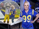 Rebel Wilson wears a soccer jersey as she showcases her 60lb weight loss at LA's SoFi Stadium