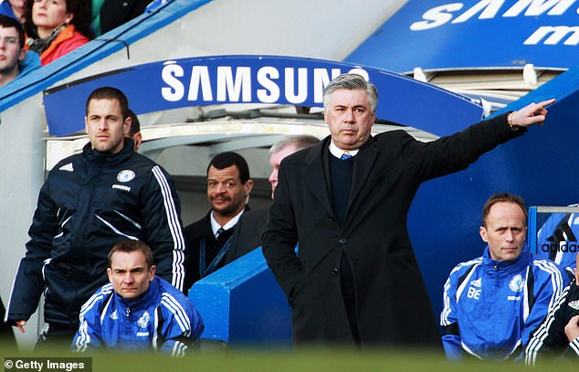 Cole (left) was frozen out by boss Carlo Ancelotti (middle) at Chelsea in the 2009-10 season