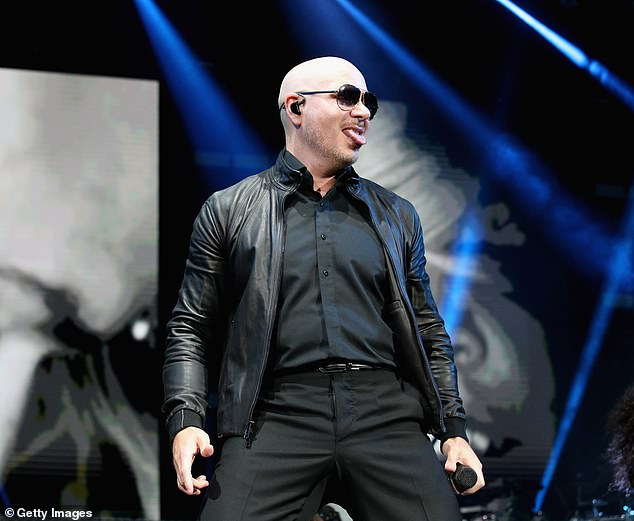 Main act: Rapper Pitbull, real name Armando Christian Pérez later took to the stage (pictured)