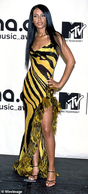 A vision:One year before her death, Aaliyah wore the animal-print Roberto Cavalli gown to the MTV VMAs, keeping things simple with strappy black heels and sleek hair (Pictured)