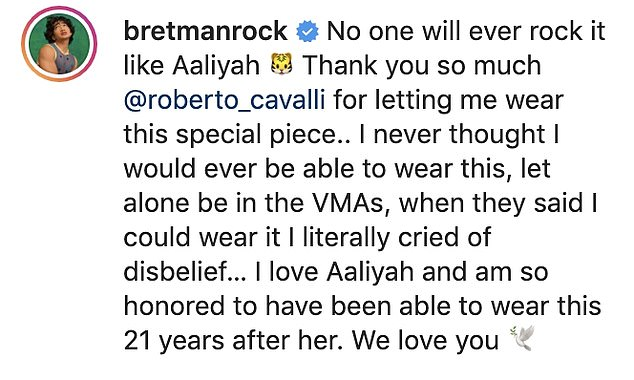 Grateful: Sharing snaps to his 17.6m followers, Bretman wrote: 'No one will ever rock it like Aaliyah. Thank you so much @roberto_cavalli for letting me wear this special piece'