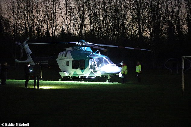 Mr Willson suffered lung trauma, broken bones and fractures to his spine - and had to have emergency surgery on his brain. Pictured: Police and an air ambulance at the scene