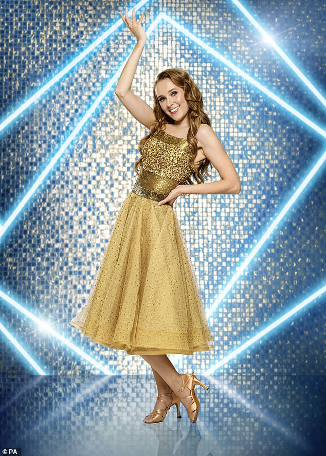 Wow! EastEnders star Rose Ayling-Ellis, 30, dazzled in a gold sequin tea dress posed for her professional Strictly Come Dancing photograph while the BBC crew learn sign language