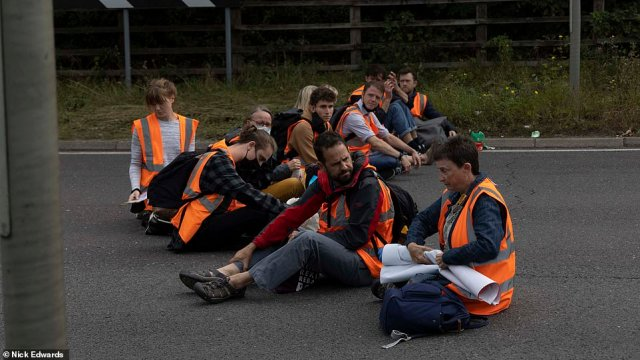 Protesters from the group cause chaos this morningat junction three of the M25 at Swanley in Kent