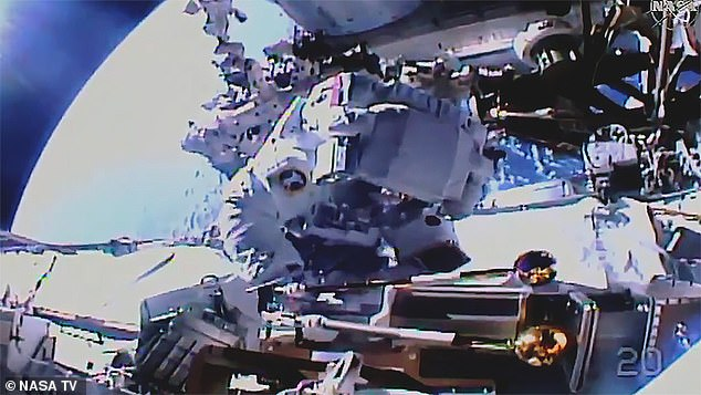Astronauts Akihiko Hoshide of the Japan Aerospace Exploration Agency and Thomas Pesquet of the European Space Agency got their orbital exercise in on Sunday.Their spacewalk — which began at 08:15 ET (13:15 BST) — was to help prepare the International Space Station (ISS) for a power boost in the form of new solar arrays. Pictured: MrHoshide works to install a support bracket on the ISS's'P4' truss structure, near the space station's living spaces