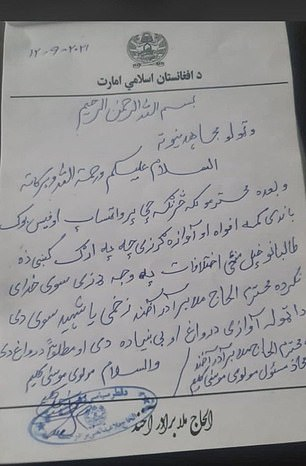 So-far the only evidence the Taliban has produced is a handwritten note (pictured) and an audio recording, sparking more rumours
