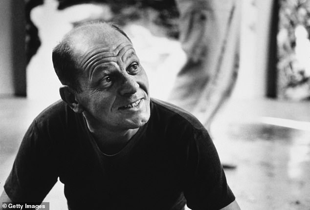 But before developing his famous drip technique, Pollock worked in portraits, prints, and surrealist paintings of humans, animals, and nature.  Pollock is pictured at his Springs studio in East Hampton, New York State on August 23, 1953