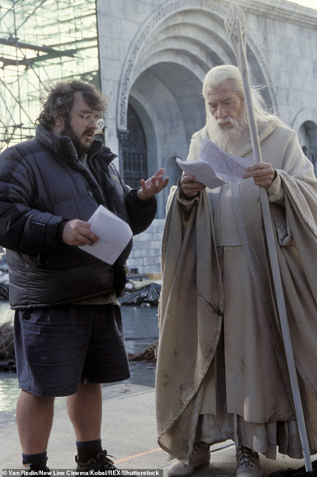 Peter Jackson (left) directs Sir Ian McKellen during the production of 'The Lord of the Rings: The Return of the King' (2003)