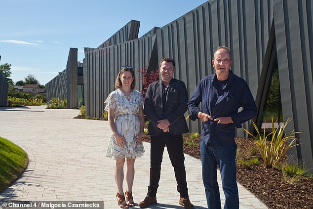 Prior to construction, property developer and supercar investor Joe said he wanted the project to be below £900,000 – but the budget soon went out the window (pictured with his wife Claire and Kevin)