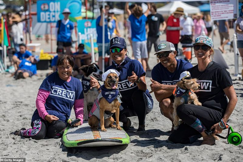 A group of participants pose for a photo at Del Mar Dog Beach