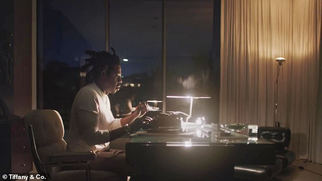 Run This Town: Jay-Z sat at a typewriter and penned his thoughts while overlooking the Los Angeles city skyline from the famous glass-clad, propeller shaped Orum House in the affluent neighborhood of Bel Air
